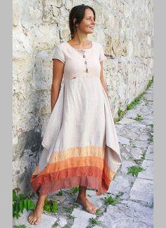 Платья ручной работы. Ярмарка Мастеров - ручная работа. Купить Платье  молочное полосатое. Handmade. Бежевый, купить платье из льна 0462368d92f