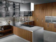 Cucina in legno con maniglie Cucina in acciaio Collezione Barrique by ERNESTOMEDA: