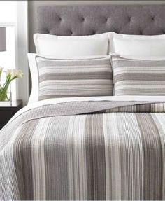 Martha Stewart Collection Garrison Stripe Neutral Twin Quilt