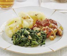 Moravský vrabec se špenátem adrbáky   Recepty Albert What To Cook, Risotto, Mashed Potatoes, Cooking, Ethnic Recipes, Food, Whipped Potatoes, Kitchen, Smash Potatoes