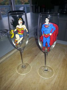 wedding toasting glasses hand painted superman and by Deziray, $60.00