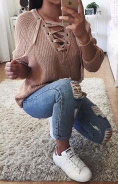#summer #outfits Blush Lace-up Knit + Destroyed Skinny Jeans + White Sneakers