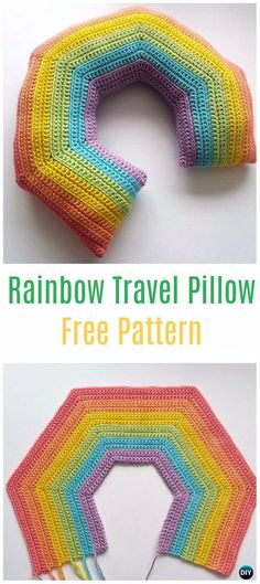 Crochet Rainbow Travel Pillow Free Pattern - Crochet Travel Neck Pillow Patterns Tutorials