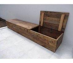 Opbergbank steigerhout met klepdeksel. Handig voor in de hal, voor schoenen.