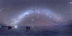 Salar de Uyuni under the stars. The crust at this prehistoric lake serves as a source of salt and covers a pool of brine, which is exceptionally rich in lithium. It contains 50 to 70% of the world's lithium reserves.