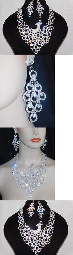 Jewelry Sets 50692: Pretty As A Peacock Set Silver Clear Rhinestone Crystal Necklace And Earrings -> BUY IT NOW ONLY: $37 on eBay!