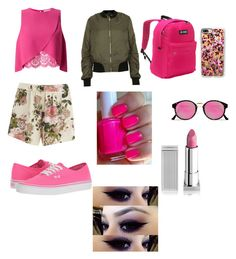 """""""Pink and Green"""" by kh03229 on Polyvore featuring VILA, Miss Selfridge, Topshop, Vans, Everest, RetroSuperFuture, Casetify and Lipstick Queen"""
