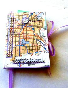 #Las Vegas travel Map journal  handmade mixed media art collage smash book travel planner bling