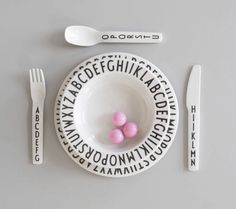 Arne Jacobsen iconic typography is now in a kid and dishwasher safe dining collection!