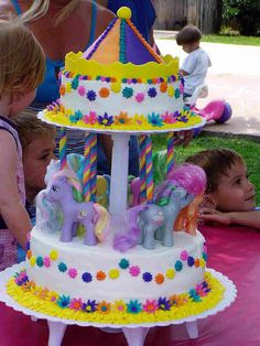 My Little Pony Birthday Cake~we've already done MLP but I love the idea of a carousel cake!