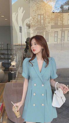 Cute Simple Dresses, Casual Dresses, Girls Dresses, Summer Dresses, Kpop Fashion Outfits, Korean Outfits, Pretty Korean Girls, Korean Girl Fashion, Look Vintage