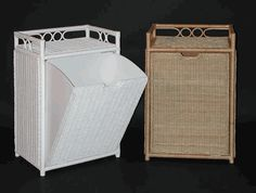 pull-out bin wicker hamper via @wickerparadise #wicker #bathroom #hamper #rattan www.wickerparadise.com