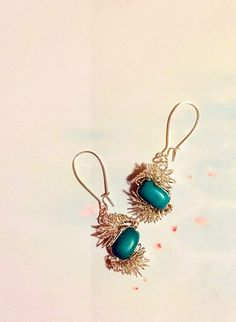 Delicately hand wrapped turquoise beads earrings with silver wire by HoneyMoonNYC on Etsy