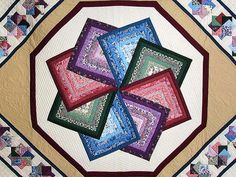 Multicolor Tan and Burgundy Star Spin Quilt Photo 3
