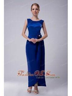 Custom Made Royal Blue Column Bateau Mother Of The Bride Dress Ankle-length Taffeta Hand Made Flower- $114.23  http://www.fashionos.com  http://www.facebook.com/quinceaneradress.fashionos.us  The spotlight of this design is that the bodice is made in contrasting shades of blue, while a modest skirt is ankle length with smooth lines which curves your good figure with no doubt. A hidden zipper up finishes this gorgeous design. Please don't miss this rare chance to have this perfect dress.