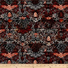 Timeless Treasures Wicked Night Halloween Damask Black from @fabricdotcom  From Timeless Treasures, this cotton print is perfect for quilting, apparel and home decor accents.  Colors include black, white and orange.