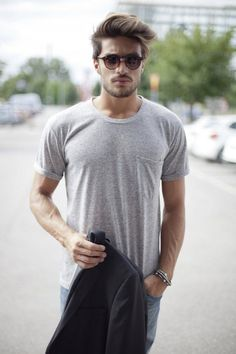 Simple look grey shirt sunglasses hair beard fashion men tumblr streetstyle italian