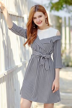 d1d0db850dc Aliexpress.com   Buy Dropship Streetwear Office Lady O Neck Half Sleeve  Plaid A line Lace Up Mini Dress Autumn Women Elegant Cold Shoulder Dresses  from ...
