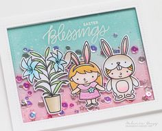 shaker card : Easter Friends Stamp Set for the couple images and sentiment Easter Friends Coordinating Dies to die cut the couple images Easter Blessing Stamp Set for the plant image Easter Blessing Coordinating Dies to die cut the plant image  Stitched Notes Dies to die cut the frame for the shaker card Sparkling Clear Stars Sequins, Friendship Sequins Mix and Sparkling Clear Confetti Mix for the shaker