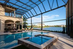 Two story picture window pool enclosure Pool Screen Enclosure, Screen Enclosures, Swimming Pool Enclosures, Swimming Pools, Screened Pool, Two Story Windows, Dream Pools, Outside World, Backyard