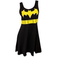 Batman Women's Black Bat Signal Dress ($40) ❤ liked on Polyvore featuring dresses, lycra dress, utility dress and spandex dresses