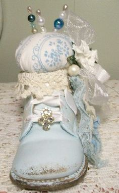 Shabby Chic Baby Shoe Pincushion Blue Vintage by PinkPaperRose,