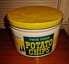 Twin Pines Potato Chips tin, Detroit, Michigan.