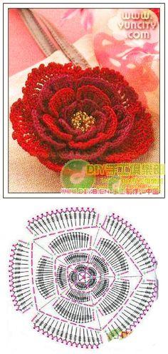 钩针玫瑰花 Цветок крючком.
