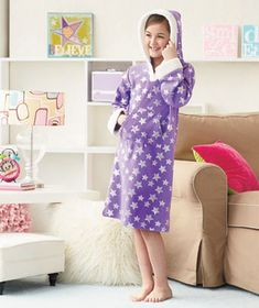 Girls' Fleece Nightgown with Hood will keep her warm and cozy on chilly nights. Perfect for lounging, sleeping or a slumber party with friends, these long-sleev