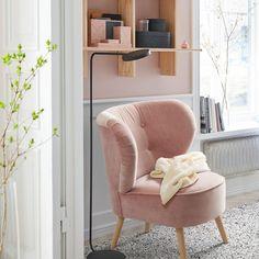 GUBBO Fauteuil - fluweel roze - IKEA Rosa Sofa, Family Room Design, New Room, Room Inspiration, Living Room Decor, Furniture, Home Decor, Instagram, Bedroom