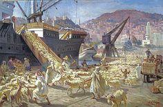 Algérie - Peintre espagnol , José Ortéga(1877-1955),Technique: Huile sur toile, Titre: Chargement de moutons au port de Skikda