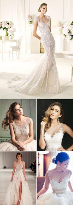 23 Gorgeous Wedding Dresses With Illusion Necklines - Embellished