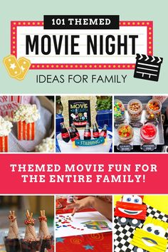THEMED FAMILY MOVIE NIGHT IDEAS- Have some fun the whole family will remember with these themed movie night ideas. Easy, themed snacks to go with the best Disney movies, dramas and comedies plus cute ideas to decorate and fun activities and games. Movie Night For Kids, Movie Night Snacks, Movie Night Party, Family Movie Night, Family Movies, Family Family, Night Food, Juegos Family Game, Easy Movies