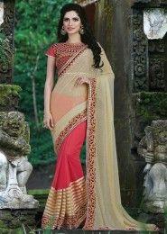 Party Wear Beige Net Embroidered Work Saree