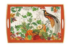 """Our wooden trays capture the timeless beauty of well-loved objects. Each piece is hand made, with a decoupaged top and sides, antiqued edges, and non-slip rubber feet. Collectible and practical - the perfect hostess gift!Size: 20"""" x 13.75"""" x 2.75"""""""