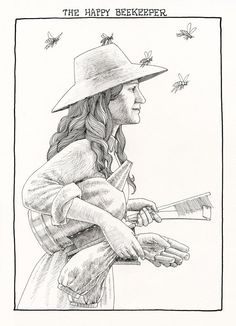 The Happy Beekeeper. Art print of original pen and by jonathanday