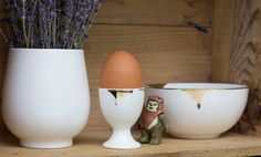 Gold Drip egg cup and bowl, and a Rin cup full of lavender :)