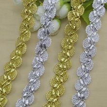 40metres Factory Supplier Cheapest Lace Trimmings Crocheted Sewing Braided Lace High Quality Gold Silver Braid Lace Ribbon 20mm(China (Mainland))