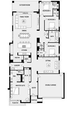 Love but make rear the entry Helsink New Home Floor Plans, Interactive House Plans - Metricon Homes - Melbourne Best House Plans, Dream House Plans, House Floor Plans, Narrow House Plans, Craftsman House Plans, Detail Architecture, Architecture Plan, Bedroom Layouts, House Layouts