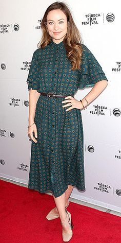 in a blousy Michael Kors midi and Nicholas Kirkwood heeled Mary Janes at a Tribeca Film Festival Master Class event in N...