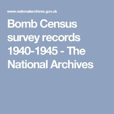 Bomb Census survey records - The National Archives National Archives, Brixton, Ww2, Acre, Mornings