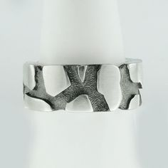 Cracked Earth Ring Band  Black Silver Plated  Silver  Cracked Earth  Lava  Rock…