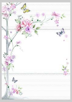 """Floral"": ""Cherry Blossoms & Butterflies"" letter pad, designed by Victoria Nelson Borders For Paper, Borders And Frames, Art Carte, Paper Frames, Note Paper, Flower Frame, Printable Paper, Paper Background, Vintage Paper"