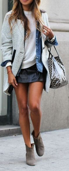 Fashion blog / leather skirt   gray coat   blue denim shirt