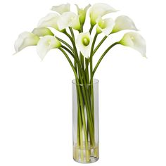 "A very brilliant Mini Calla Lily cream silk flower arrangement set in a vase with acrylic water, standing 20"" tall and presented by ExcellentSilkFlowers.com."