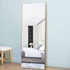 Modern Full Length Mirrors, Full Length Mirror Wall, Over The Door Mirror, Mirror Door, Solid Wood Shelves, Dressing Mirror, Floating Wall Shelves, Wall Mounted Mirror, Door Wall
