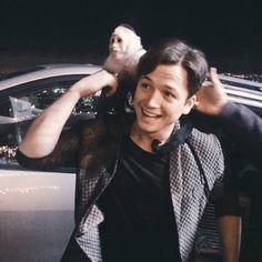 Taron Egerton with a monkey