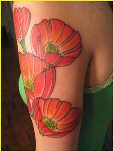 Poppies . I'm not big for tattoos  but the color is neat