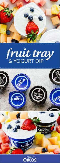 This recipe for a Fruit Tray with Yogurt Dip is one part sweet snack idea and the other part easy summer entertaining inspiration! Grab a variety of flavors of Dannon® Oikos® Single Serve Triple Zero Greek Yogurt and Dannon® Oikos® Single Serve Greek Yogurt from Walmart—as well as pineapple, strawberries, melon, and blueberries—to bring this summer treat together in no time.
