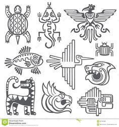 Illustration of Historic aztec, inca vector symbols, mayan temple pattern, native american culture signs. Tattoo ancient tribes in form of abstract animals illustration vector art, clipart and stock vectors. Inka Tattoo, Hawaiianisches Tattoo, Underboob Tattoo, Arte Tribal, Aztec Art, Aztec Symbols, Celtic Symbols, Ancient Symbols, Egyptian Symbols